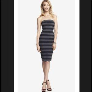Express Body Con black grey strapless tube dress 8